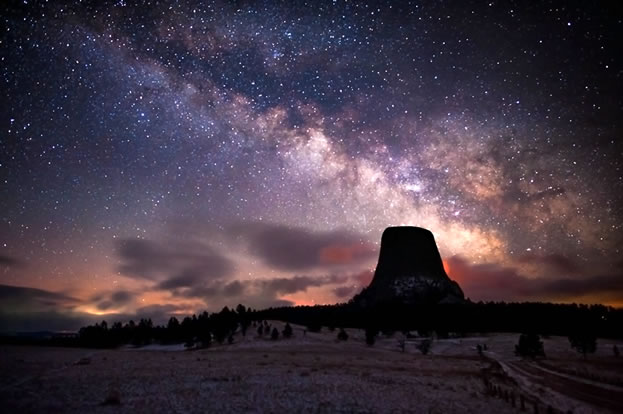 photo of an imposing monolith under the stars