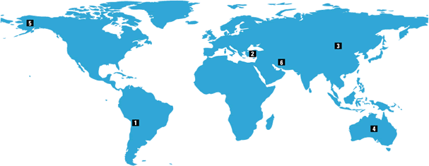 world map with numbered pointers corresponding to those in the text