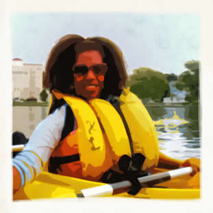 photo of a young woman smiling, paddling a kayak. citysacape is visible behind