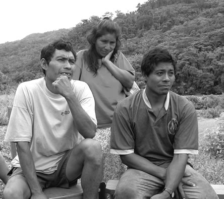 Machiguenga people discuss damage to their way of life from the Camisea project -- Amazon Watch photo.