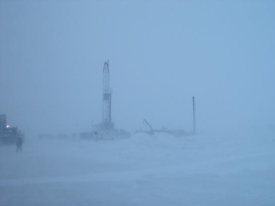 Experimental methane hydrate drilling rig at Mallik, Canada enjoys a typical Arctic day.