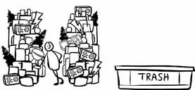 line drawing of a person with a mountain of belongings, some marked with a skull and crossbones; they're eyeing a small container marked TRASH