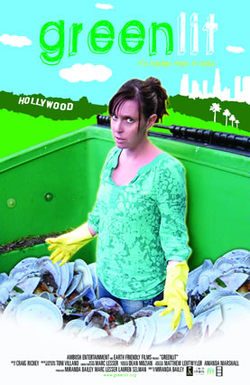 movie poster graphic showing a cranky loking woman in a refuse dumpster full of paper plates