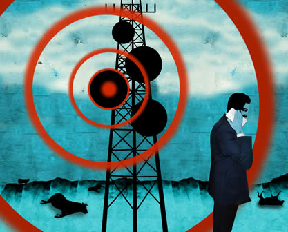 artwork showing an antenna with radial lines depicting radio waves and a suited figure holding a phone to his head