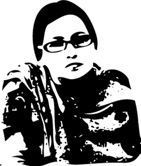 woodcut-style graphic of a woman