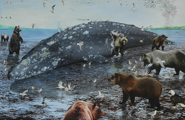 painting of a grey whale carcsse on a beach being eaten by grizzlies