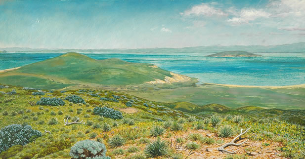 painting of a Franciscan landscape, the bay with an island in the background