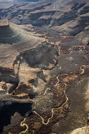 aerial photo of a desert river canyon