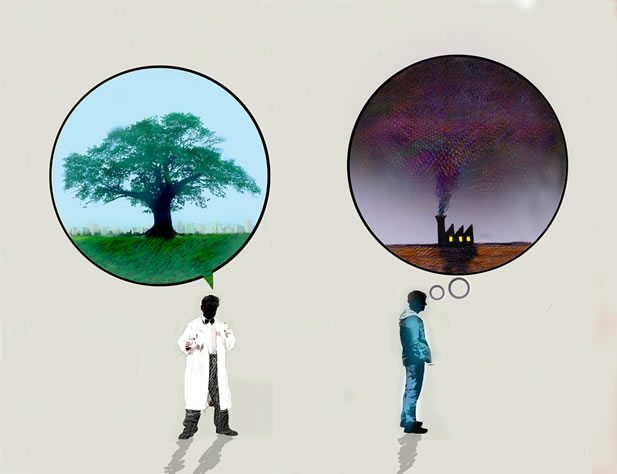 artwork depicting two people, one wearing a lab coat thinking of a tree; the other in street clothes thinking of a factory with smoke pouring from it