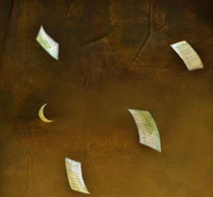 detail of an artwork depicting sheets of paper tossed by a flood under a crescent moon