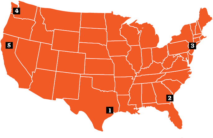 graphic map of the United States