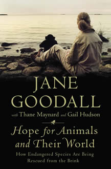book cover thumbnail 'hope for animals and their world' by Jane Goodall