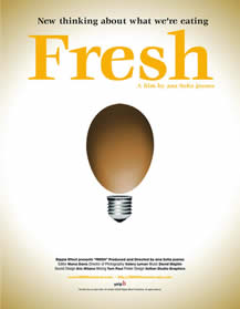 movie poster showing an egg as part of a lightbulb (as in the idea kind) and the words: New thinking about what we're eating, Fresh