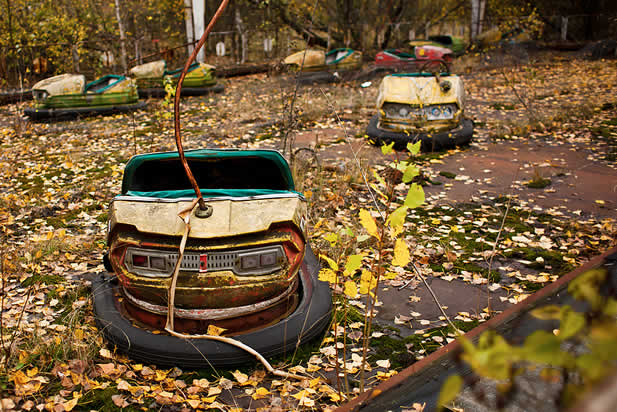 photo of ruined, rusted bumpercars on a weedy amusement park track