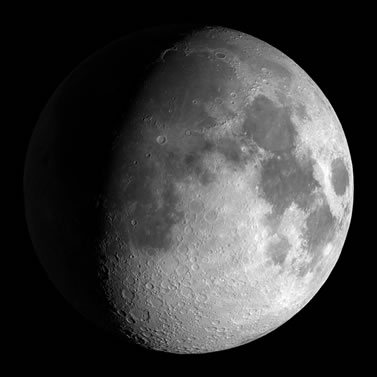 photo of the moon in three-quarter phase