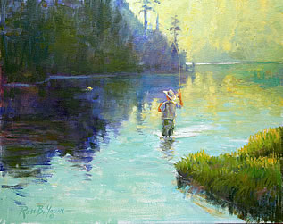 painting of someone fly-fishing on a calm stream