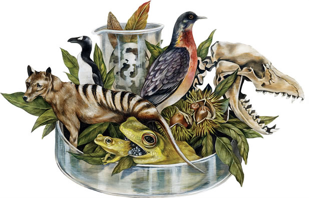 artwork depicting extinct animals rising from a petri dish and a beaker