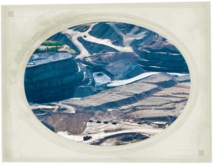 postcard-like aerial image of a strip mine