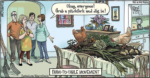 cartoon panel depicting a group approaching a table covered in soil and vegetables and chickens, caption reads Farm to Table Movement