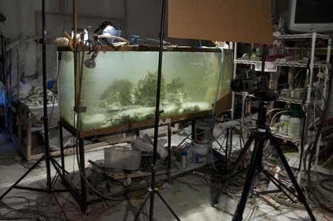 photo of the studio for producing fantasy landscapes
