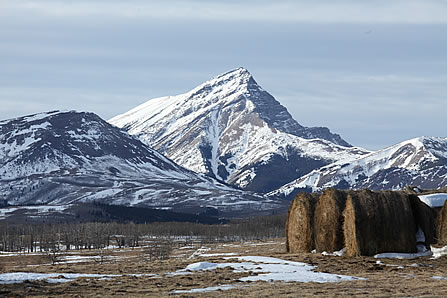 photo of hay bales in a mountain valley
