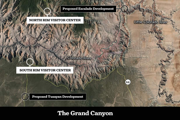 sattelite image and map of the Grand Canyon, showing points where developments are planned