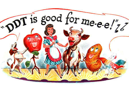 cartoon graphic of a aproned woman dancing with a cow, a dog, and some vegetables singing, ddt is good for me