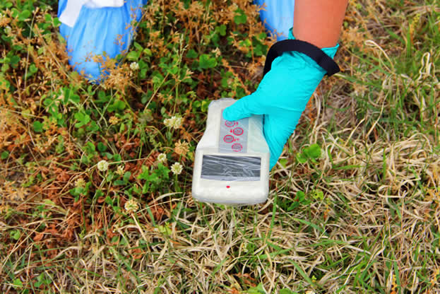 photo of a gloved hand holding a plastic-wrapped digital measuring device, probably a Geiger counter