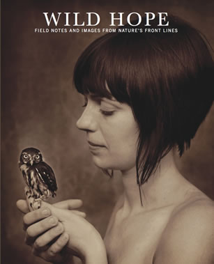 magazine cover depicting a woman holding an owl