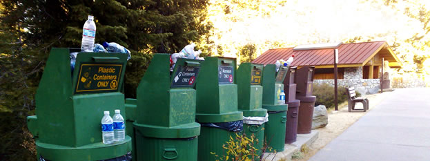 photo of recycling containers in Yosemite National Park