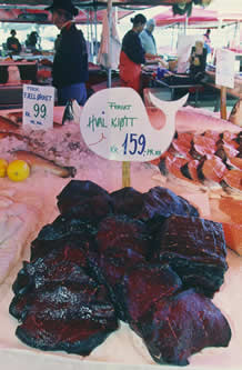 photo of whalemeat in a market, with prices in a nordic language