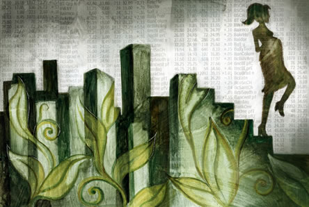 graphic artwork of a pregnant female figure descending from a skyline on a staircase, decorated with leaves; the background shows rows of numbers