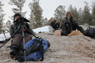 photo of young people in a snowy landscape using lenses and equipment to watch wolves