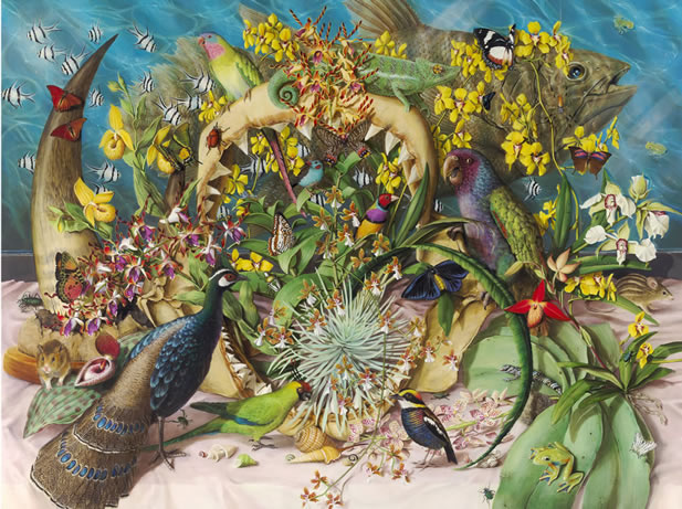 artwork depicting many plants and animals