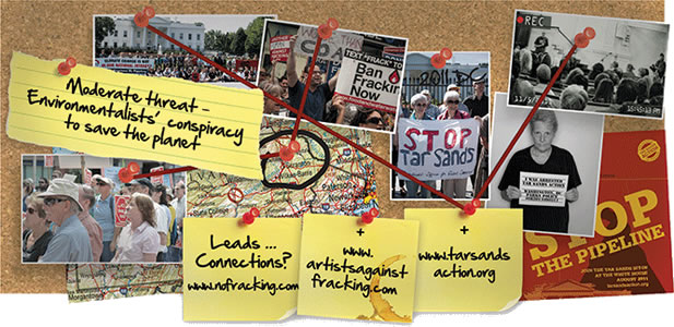 artwork depicting a bulletin board upon which photos of demonstrators and post-it notes with web addresses of anti-fracking groups are connected by pins and string