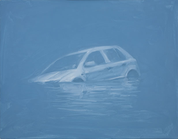 artwork depicting an economy car sinking in water