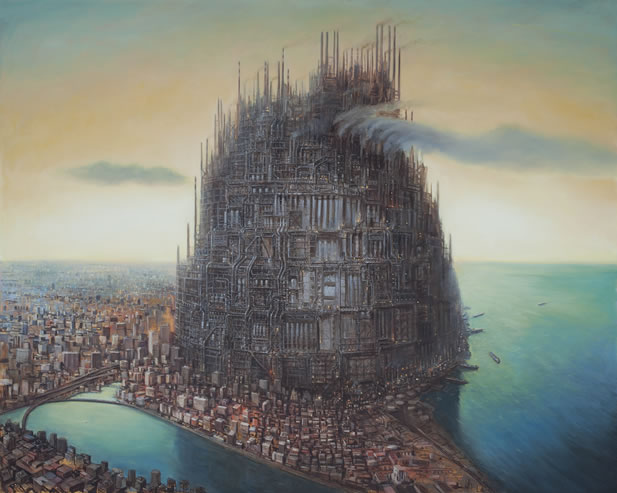 artwork depicting an enormous, mechanistic Babel-like tower in the midst of a sprawling city