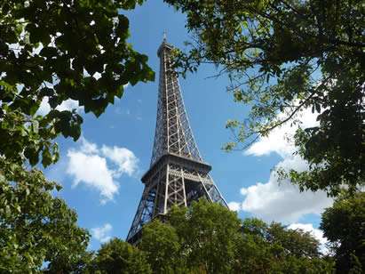photo of the Eiffel tower from a wooded park