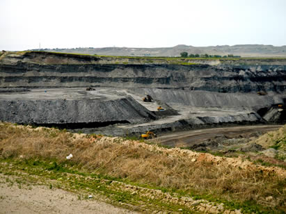 photo of an open-pit coal mine