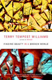 photo of the book's cover thumbnail; abstract broken glass and the words: Terry Tempest Williams, Finding Beauty in a Broken World