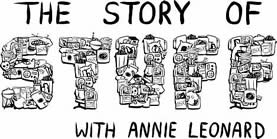 words: the story of stuff, with Annie Lennard - spelled out in stuff