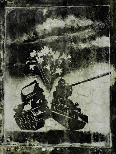 graphic artwork showing a broken military tank with smoke and flowers emerging