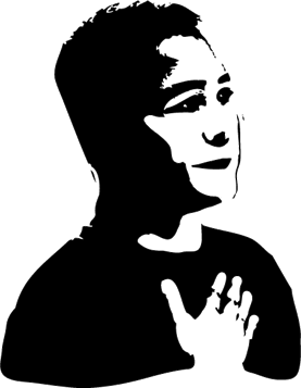 woodcut-style graphic of a man