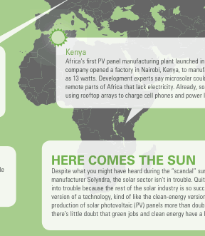 section of an informational graphic map showing solar development around the world