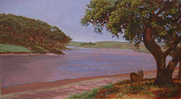 painting of an estuary, oaks on either side, wildlife and a person near