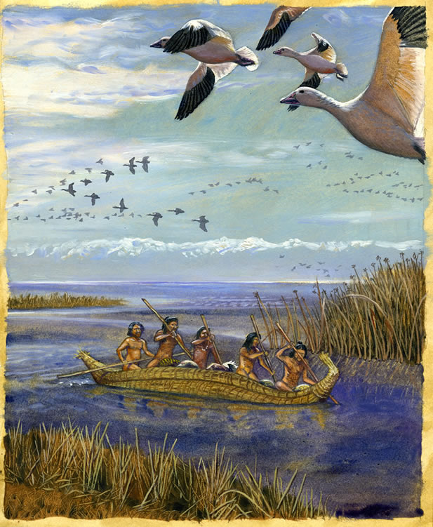 painting of people in a reed boat crossing a body of water, there are many waterfowl