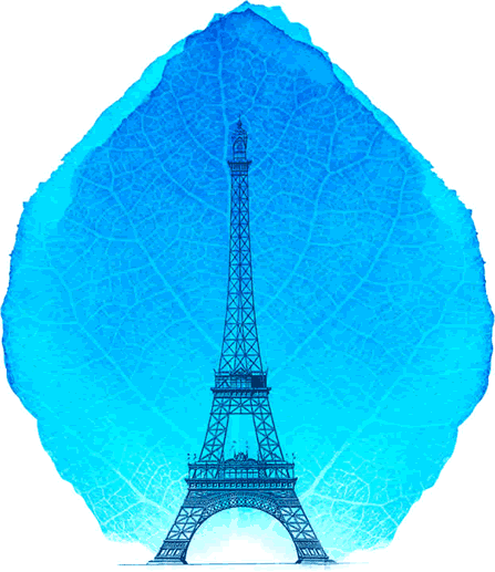 artwork depicting a silhouette of the Eiffel tower superimposed over a leaf