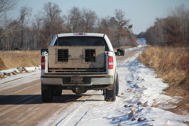 photo of a pickup truck with a cage in back driving on a snowy road