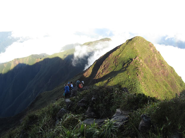 photo of a tropical mountaintop, backpackers climbing