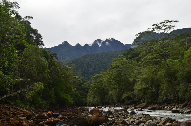 photo of tall, rugged, tropical mountains with a stream in the foreground
